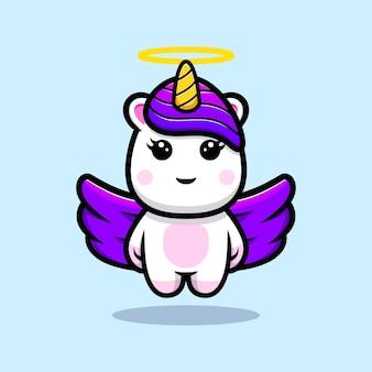 Lindo unicornio con diseño de mascota de ala púrpura