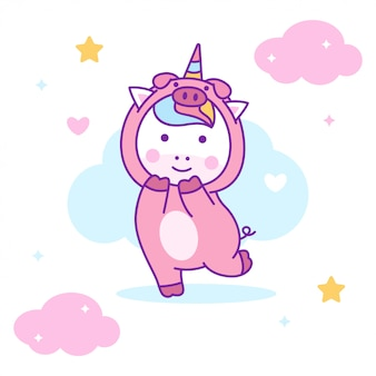 Lindo unicornio con disfraz de cerdo