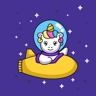 Lindo unicornio divertido con traje espacial en el espacio