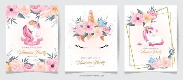 Lindo unicornio doodle con colección de tarjetas de invitación de flores