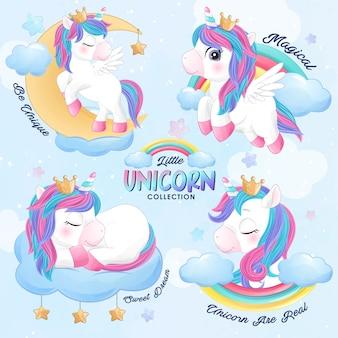 Lindo unicornio doodle en estilo acuarela