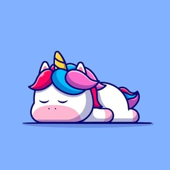 Lindo unicornio durmiendo ilustración de dibujos animados. concepto de naturaleza animal aislado. estilo de dibujos animados plana