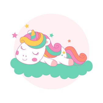 Lindo unicornio durmiendo en una nube estilo kawaii de dibujos animados