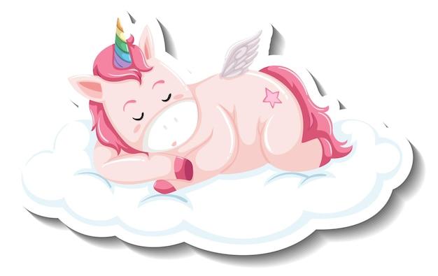Lindo unicornio durmiendo en la nube sobre fondo blanco.