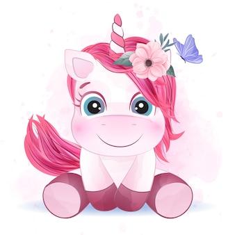Lindo unicornio con efecto acuarela