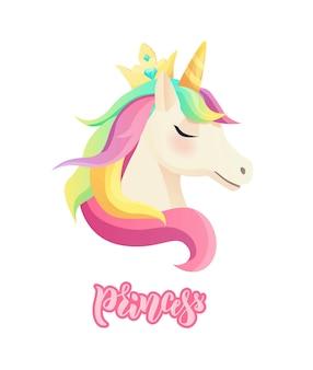 Lindo unicornio de estilo plano.