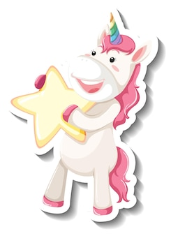 Lindo unicornio con estrella sobre fondo blanco.
