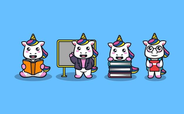 Lindo unicornio en estudiante leyendo y sosteniendo libros