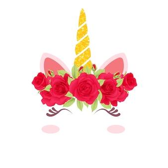 Lindo unicornio floral