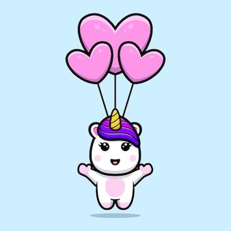 Lindo unicornio flotando en el cielo con diseño de mascota de globo de corazón