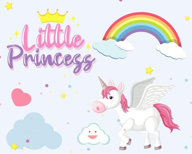 Lindo unicornio en el fondo del cielo
