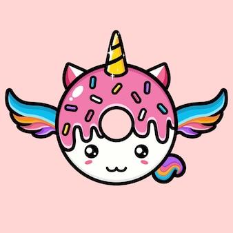 Lindo unicornio con forma de postre rosa