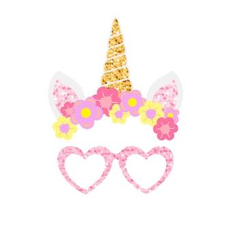 Lindo unicornio foto stand de fiesta apoyos vector
