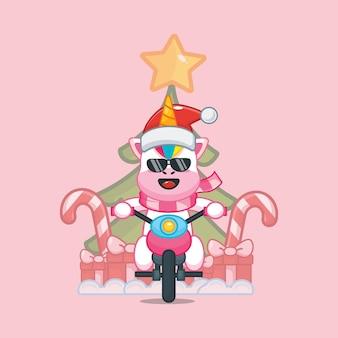 Lindo unicornio fresco en el día de navidad montando una motocicleta linda ilustración de dibujos animados navideños
