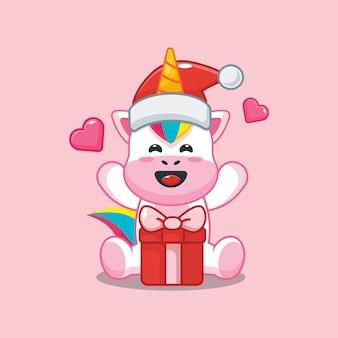 Lindo unicornio con gorro de papá noel con caja de regalo en el día de navidad linda ilustración de dibujos animados de navidad