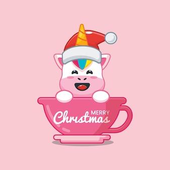Lindo unicornio con gorro de papá noel en taza linda ilustración de dibujos animados de navidad
