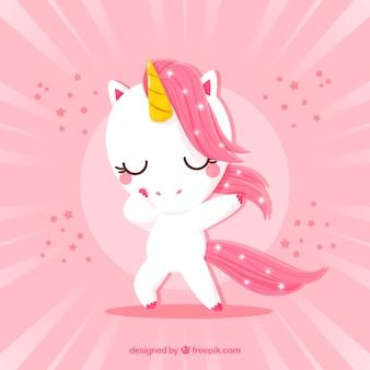 Lindo unicornio haciendo movimiento dabbing