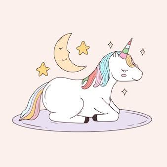Lindo unicornio y hermoso dibujo de luna para niños