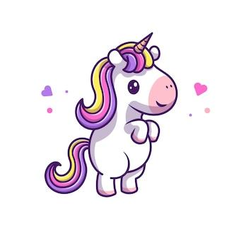 Lindo unicornio icono de pie ilustración. personaje de dibujos animados de mascota unicornio. concepto animal icono blanco aislado