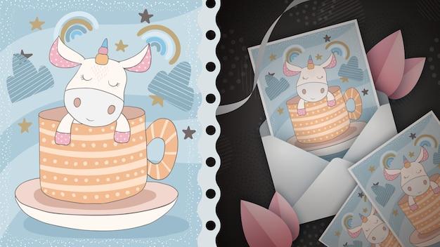 Lindo unicornio - idea para tarjeta de felicitación