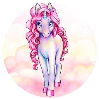 Lindo unicornio iridiscente violeta acuarela