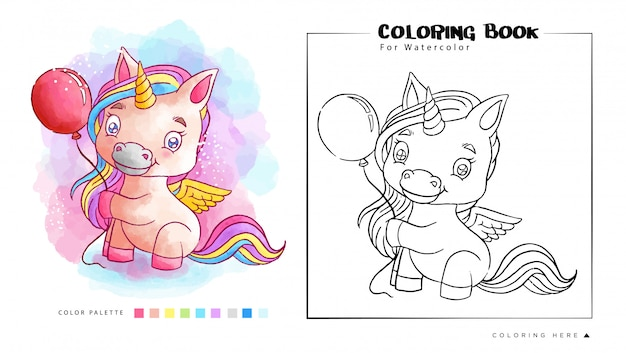 Lindo unicornio jugando con globo libro para colorear acuarela
