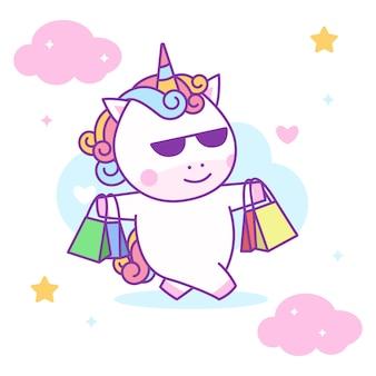 Lindo unicornio levantando bolsas de compras