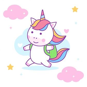 Lindo unicornio listo para ir a la escuela
