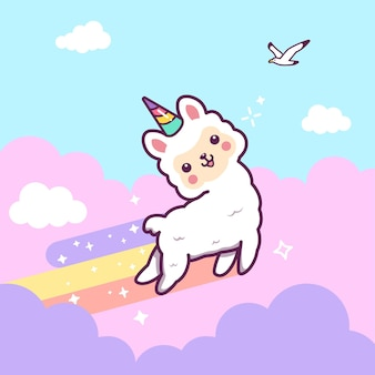 Lindo unicornio de llama saltando con arco iris, nubes y estrellas.