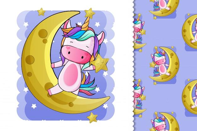 Lindo unicornio con luna y estrellas