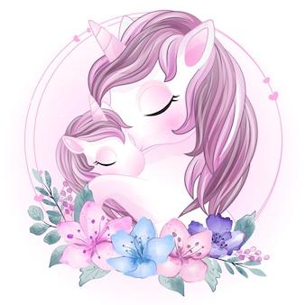 Lindo unicornio madre y bebé