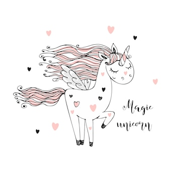 Lindo unicornio mágico con alas. monocromo.
