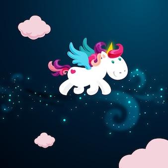 Lindo unicornio mágico en el cielo