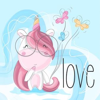 Lindo unicornio mano dibujar ilustración-vector