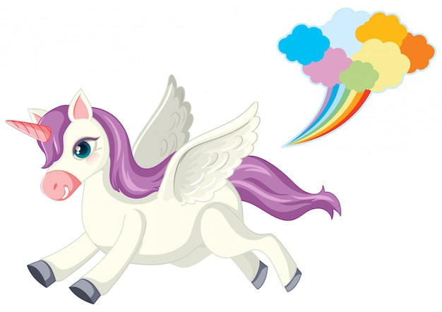 Lindo unicornio morado en posición de marcha sobre fondo blanco