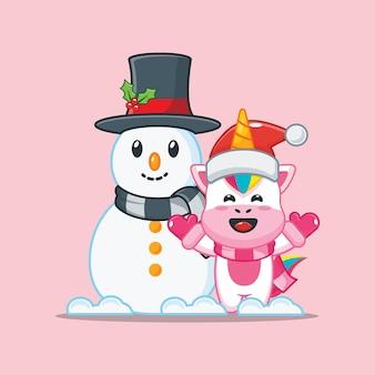 Lindo unicornio con muñeco de nieve en el día de navidad linda ilustración de dibujos animados de navidad