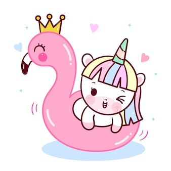 Lindo unicornio nadando con dibujos animados de flamencos