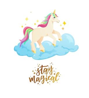 Lindo unicornio en nubes en estilo plano
