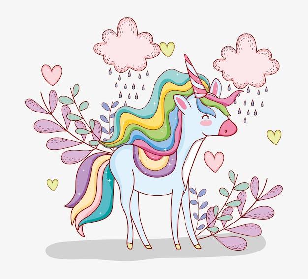 Lindo unicornio con nubes lloviendo y plantas.