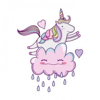 Lindo unicornio y nubes