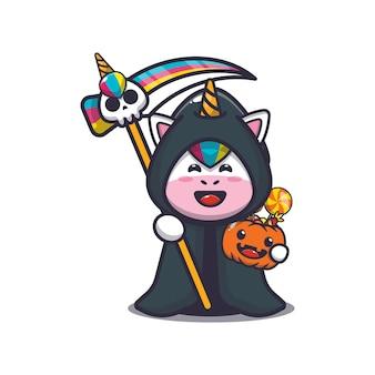 Lindo unicornio parca sosteniendo calabaza de halloween linda ilustración de dibujos animados de halloween