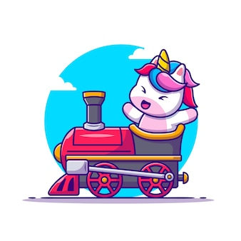 Lindo, unicornio, paseo, en, tren, caricatura