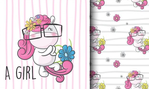 Lindo unicornio sin patrón ilustración infantil