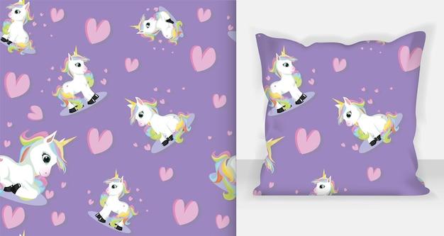 Lindo unicornio de patrones sin fisuras ilustración vectorial - fondo púrpura
