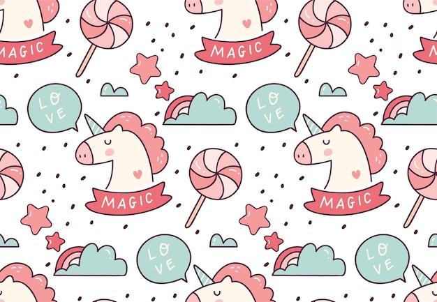 Lindo unicornio de patrones sin fisuras
