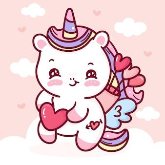 Lindo unicornio pegaso cupido dibujos animados kawaii animal para el día de san valentín