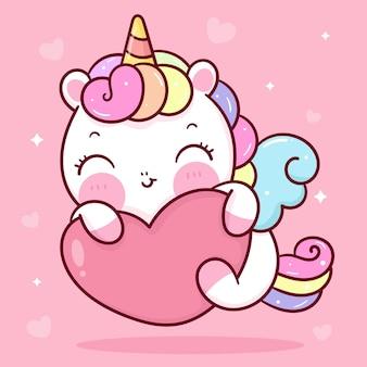 Lindo unicornio pegaso dibujos animados abrazo corazón kawaii animal