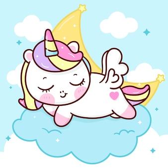 Lindo unicornio pegaso de dibujos animados duerme en la nube con luna animal kawaii