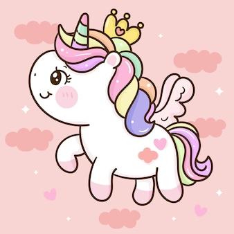 Lindo unicornio pegaso princesa dibujos animados kawaii animal