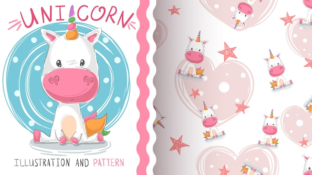 Lindo unicornio de peluche - patrón sin costuras